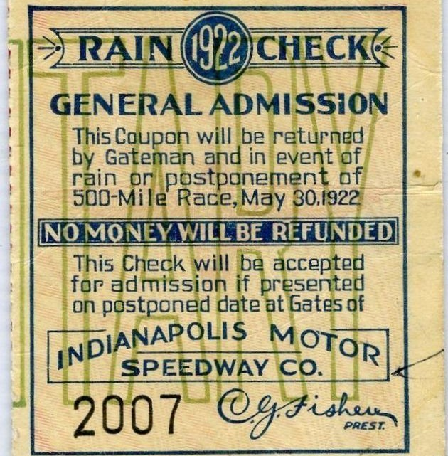 1922 Indianapolis 500 ticket stub