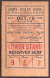 1924 NCAAF Notre Dame at Army ticket stub