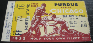 1932 NCAAF Purdue at Chicago ticket stub