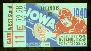 1940 NCAAF Illinois at Iowa ticket stub