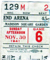 1941 Toronto Maple Leafs at Brooklyn Americans ticket stub