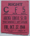 1944 AHL Cleveland Barons at St. Louis Flyers ticket stub