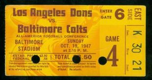 1947 AAFC Los Angeles Dons at Baltimore Colts