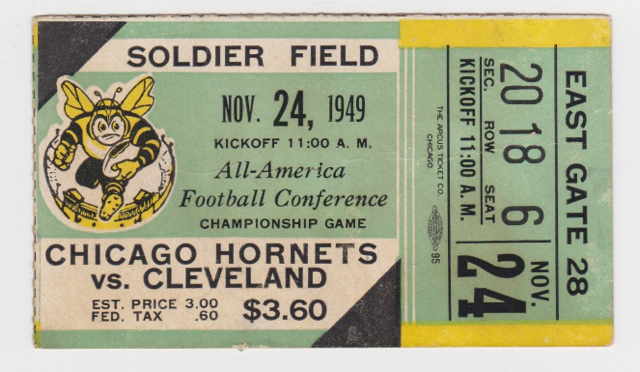 1949 AAFC Championship Browns at Hornets 50 ticket stub