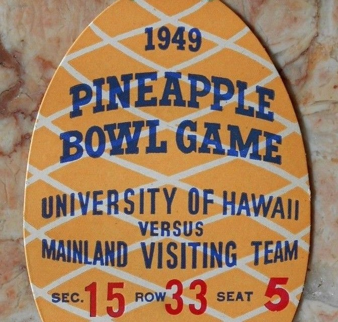 1949 Pineapple Bowl Oregon State vs Hawaii ticket stub