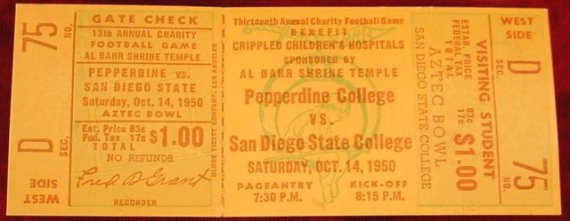 1950 NCAAF Pepperdine at San Diego State ticket stub