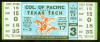 1953 NCAAF Texas Tech ticket stub vs Pacific