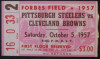 1957 Browns at Steelers Forbes Field ticket stub