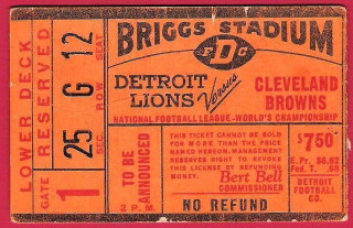 1957 NFL Championship Game ticket stub Browns at Lions
