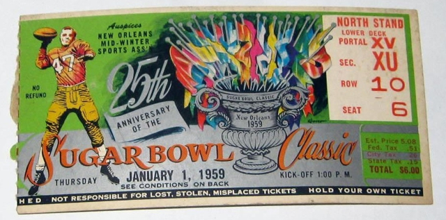 1959 Sugar Bowl Clemson vs LSU ticket stub 212