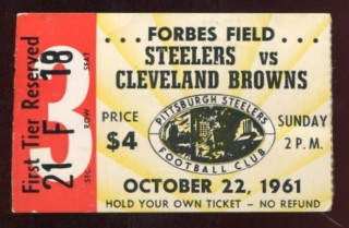 1961 Browns at Steelers Forbes Field ticket stub