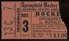 1962 AHL Buffalo Bisons at Springfield Indians ticket stub