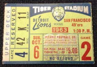 1963 49ers at Lions ticket stub