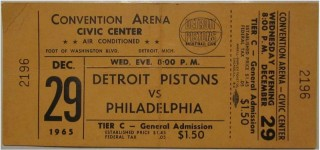 1965 NBA 76ers at Pistons ticket stub