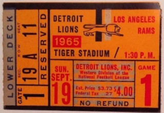 1965 Rams at Lions ticket stub