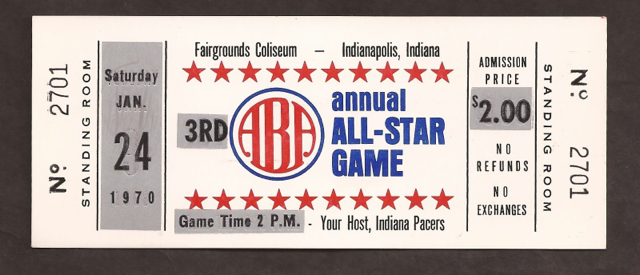 1970 ABA All Star Game Indianapolis Pacers ticket stub