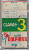 1970 Baltimore Colts ticket stub vs Dolphins