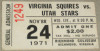1971 ABA Stars at Squires ticket stub