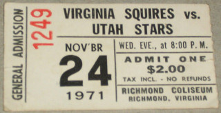 1971 ABA Stars at Squires ticket stub 13.49