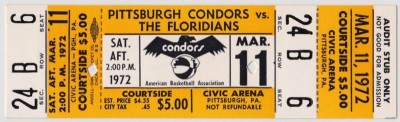 1972 ABA Floridians at Pittsburgh Condors ticket stub 157
