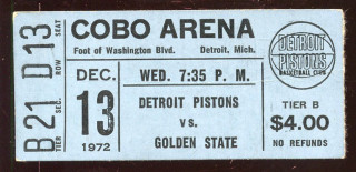 1972 NBA Golden State Warriors at Detroit Pistons ticket stub