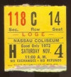 1972 Ticket Stub from Uniondale's Nassau veterans memorial coliseum
