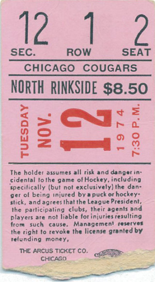 1974 WHA San Diego Mariners at Chicago Cougars ticket stub