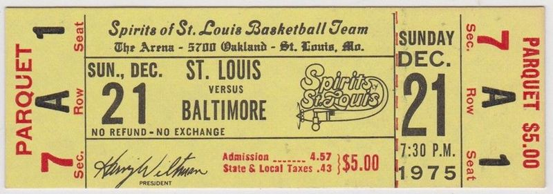 1975 ABA Baltimore Claws at Spirits of St. Louis ticket stub 41