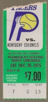 1975 ABA Colonels at Pacers ticket stub