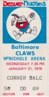 1975 ABA Denver Nuggets ticket stub vs Baltimore