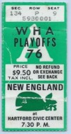 1976 WHA Playoffs Crusaders at Whalers ticket stub
