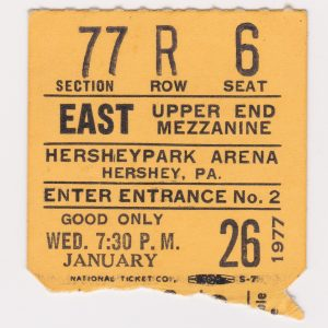 1977 AHL Hershey Bears ticket stub for sale