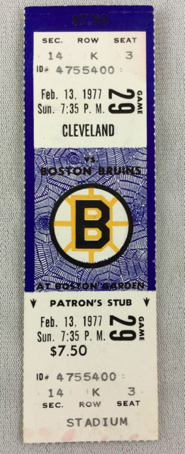 1977 Cleveland Barons at Boston Bruins ticket stub