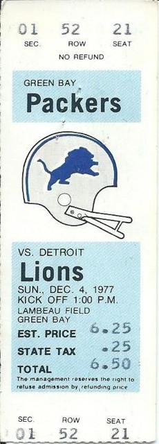 1977 Lions at Packers ticket stub