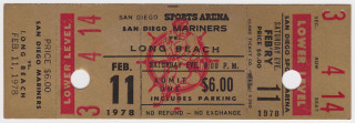 1978 Pacific Hockey League Long Beach at San Diego Mariners ticket stub