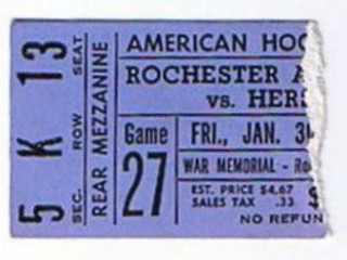1981 AHL Hershey Bears at Rochester Americans ticket stub