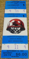 1981 NCAAF Fresno State at Oregon State ticket stub