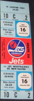1982 AHL Sherbrooke Jets ticket stub vs New Haven