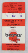 1982 NCAAF Calilfornia at Oregon State ticket stub