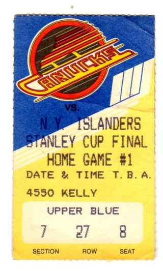 1982 Stanley Cup Final Gm 1 Islanders at Canucks ticket stub 15