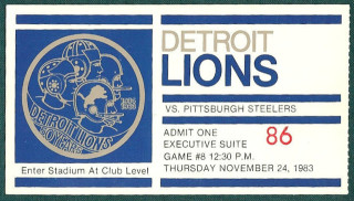 1983 Steelers at Lions ticket stub