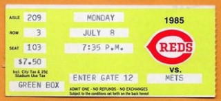 1985 Mets at Reds ticket stub