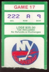 1985 Rangers at Islanders ticket stub