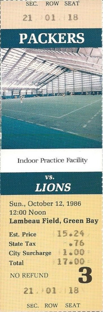 1986 Lions at Packers ticket stub