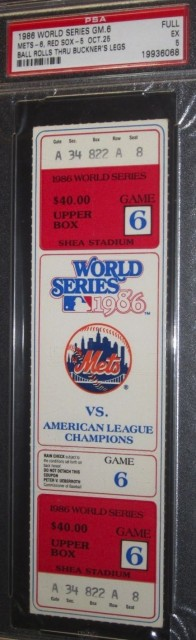 1986 World Series Game 6 ticket Red Sox at Mets