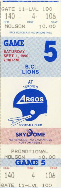 1990 CFL Lions at Argonauts ticket stub