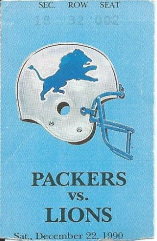 1990 Lions at Packers ticket stub