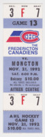 1992 AHL Fredericton Canadiens ticket stub vs Moncton