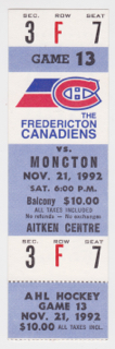 1992 Fredericton Canadiens ticket stub vs Moncton for sale