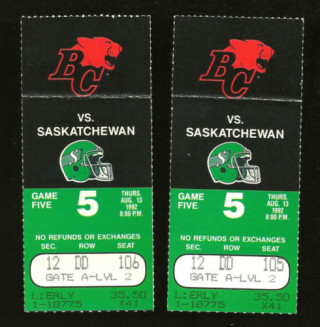 1992 CFL Roughriders at Lions ticket stub